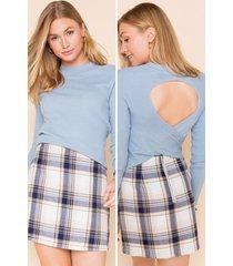 women's jessa twist back sweater in navy by francesca's - size: 3x