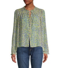 cooper & ella women's floral-print puffed-sleeve blouse - yellow multicolor - size s