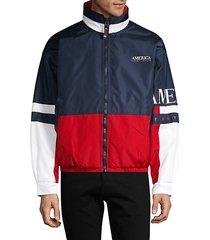 america colorblock zip-front jacket