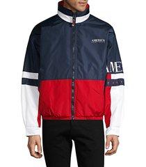 america colorblock zip-front jacket