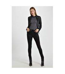 calça de sarja basic skinny high resinada colors preto - 44