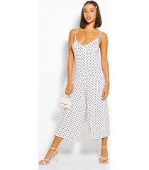 polka dot cami culotte jumpsuit, white