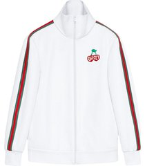 gucci logo cherry jacket - white