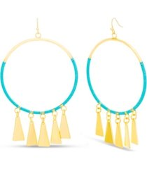 kensie women's polished triangle dangle circle hook earrings