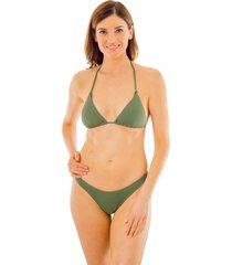 bikini cruzado textura  verde musgo ac mare