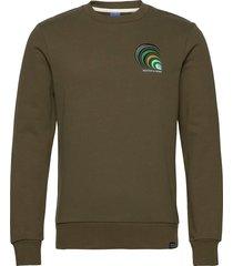 crewneck with chest embroidery sweat-shirt tröja grön scotch & soda