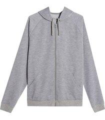 buzo hoodie hombre con capota color gris, talla m