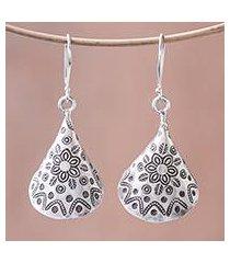 silver dangle earrings, 'karen cones' (thailand)