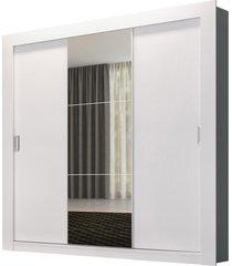 guarda-roupa solteiro édez ph1708, 1,70m, 3 portas de correr, espelho, touch branco