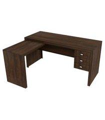 mesa de escritório íris 3 gv marrom
