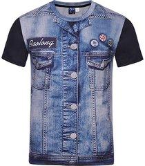 giacca creativa del denim 3d del mens ha stampato la maglietta casuale della manica corta del o-collo