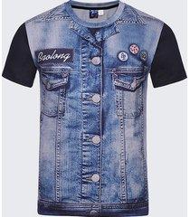 t-shirt casual a maniche corte in o-collo con maniche corte stampate in denim 3d da uomo
