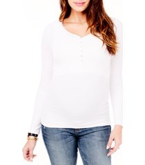 women's ingrid & isabel ribbed maternity/nursing henley tee, size large - white