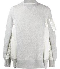 sacai oversized patchwork sweatshirt - grey