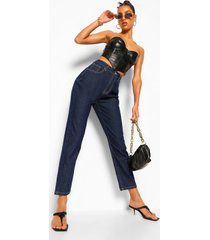 high rise mom jeans, indigo