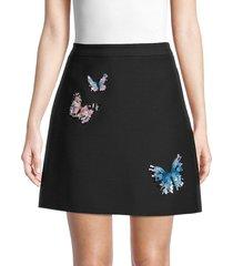 valentino women's embellished butterfly skirt - nero multi - size 2