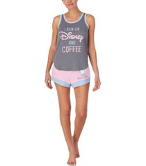 disney disney & coffee tank top & shorts pajama set