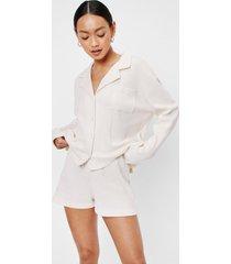 womens oversized 3 pc pajama shorts and scrunchie set - cream