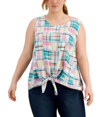style & co plus size tie-hem tank, created for macy's