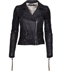 seattle new thin leather jacket läderjacka skinnjacka svart mdk / munderingskompagniet