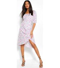 asymmetrische bloemenprint midi jurk met pofmouwen, crème