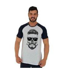 camiseta tradicional manga curta mxd conceito caveira bigode francês