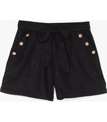 womens get button with it high-waisted belted shorts - black