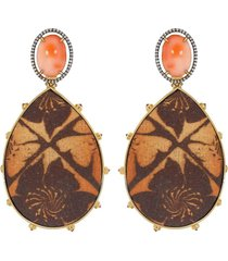 angelskin coral and orange sapphire earrings