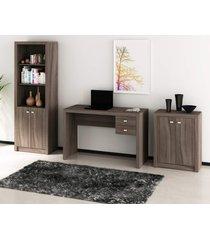 conjunto de escritório com mesa, armário alto e baixo 02 carvalho dallas - tricae