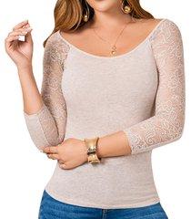 blusa aleja beige para mujer croydon