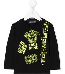 young versace medusa head logo sweatshirt - black