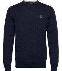 classic c/n jumper stickad tröja m. rund krage blå fred perry