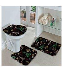 jogo tapetes de natal para banheiro arvores natalinas geométricas colorido único