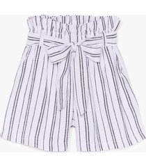 womens strictly business paperbag stripe shorts - blue