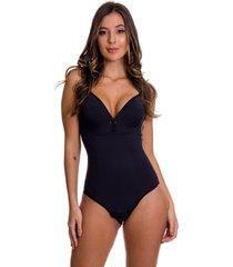 body modelador estilo sedutor nadador sem bojo preto - cl416 - preto - feminino - dafiti