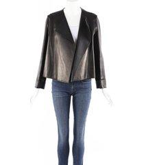 the row lino black lambskin leather jacket black sz: s
