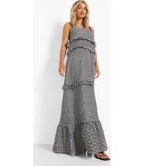 gingham maxi jurk met franjes en laagjes, black