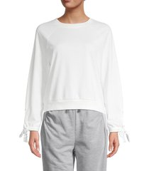 bcbgeneration women's knit sweatshirt - off white - size s