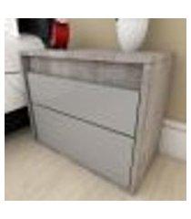 mesa de cabeceira moderna cinza com rústico