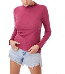 cotton on women's leona lettuce edge long sleeve top