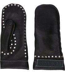 loewe studded mitten-style gloves - black