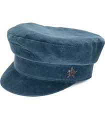 lorena antoniazzi velvet corduroy newsboy cap - blue