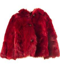 red valentino red reversible sheepskin jacket