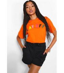 lay off slogan t-shirt, oranje