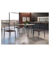 conjunto de mesa de jantar grécia com tampo de vidro siena e 4 cadeiras atos couríssimo marrom e grafite