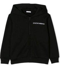 dolce & gabbana black cotton logo embroidered hoodie