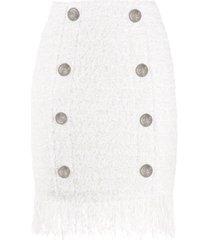 balmain buttoned fringe-hem mini skirt - white