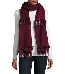la fiorentina women's rabbit fur & wool scarf - black