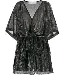 iro wide ruffled mini dress - black