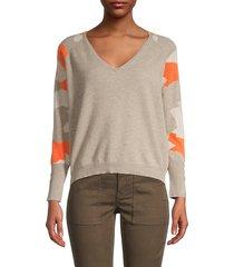 paige v camo-sleeve cashmere sweater